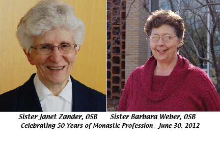 Sisters Barbara Weber and Janet Zander to celebrate 50th anniversary of monastic profession on June 30, 2012 - All are welcome!