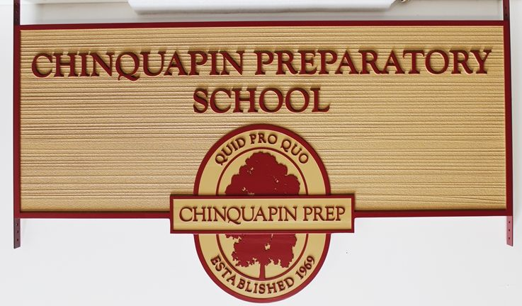 FA15615 - Carved and Sandblasted Wood Grain Entrance  Sign for Chinquapin Preparatory School