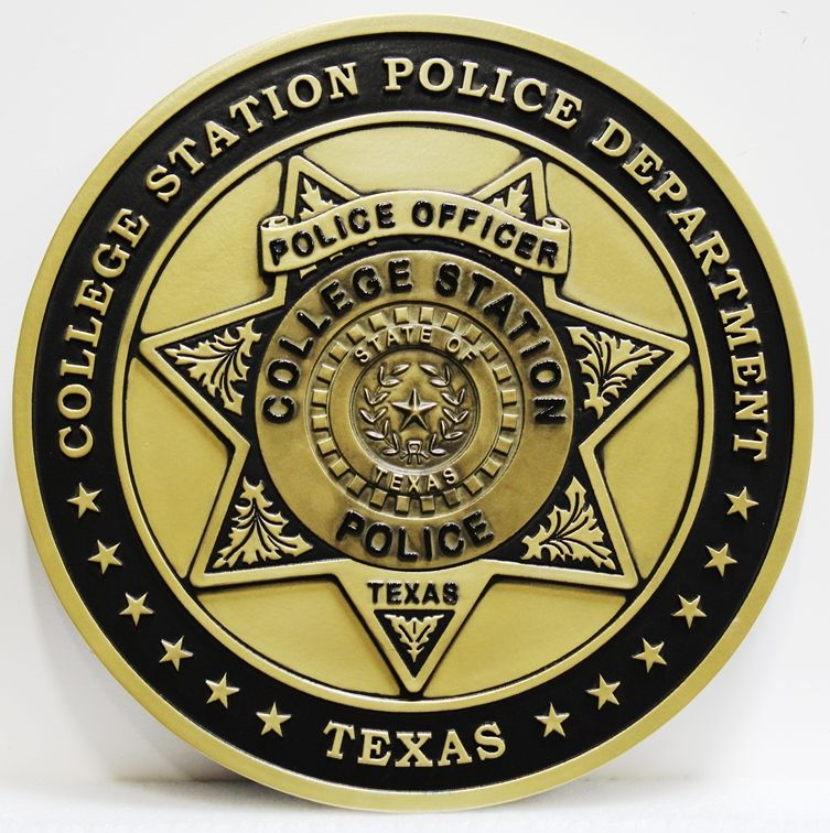 PP-1806 - Carved 2.5-D Multi-Level Relief HDU Plaque of the Star Badge of the College Station Police Department, Texas