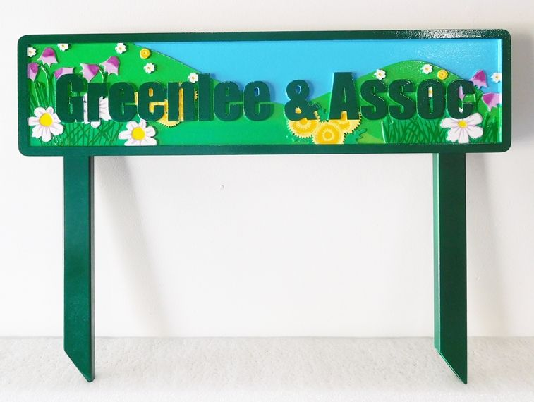 """SA28672 -  Colorful Sign for """"Greenlee and Associates"""" with Wildflowers"""