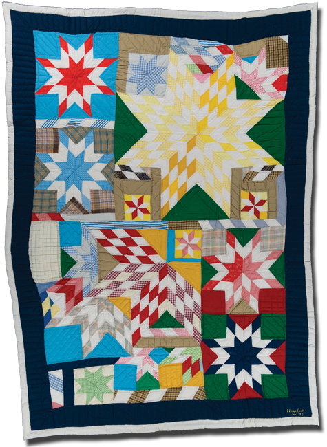 Blazing Star variation (Star Puzzle), Made by Nora Ezell, Made in Eutaw, Alabama, United States, Dated 1995, 96 x 71 in, IQSC 2000.004.0029