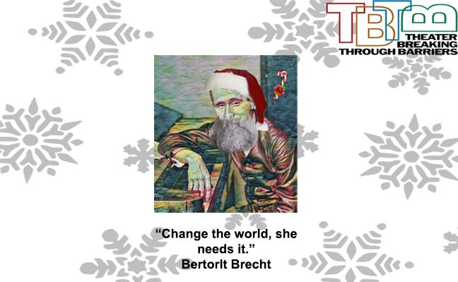 The New Logo for the TBTB 2019 fundraiser campaign with a Brecht picture with a filter and Christmas decorations.