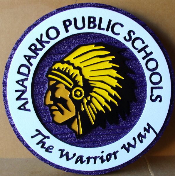 Y34721 - Carved 2.5-D and Engraved  Wall Plaque for Mandarko Public Schools, with Indian Chief Head