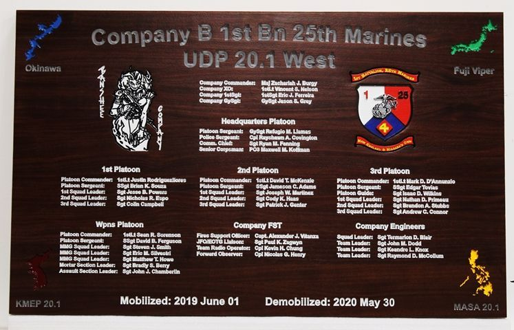 SA1240 - Demobilization Plaque for Company B, 1st Battalion, 26th Marines ,  Carved from Western Red Cedar.