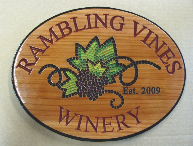 M3016- Carved Cedar Winery Sign with Stylized Grape Cluster