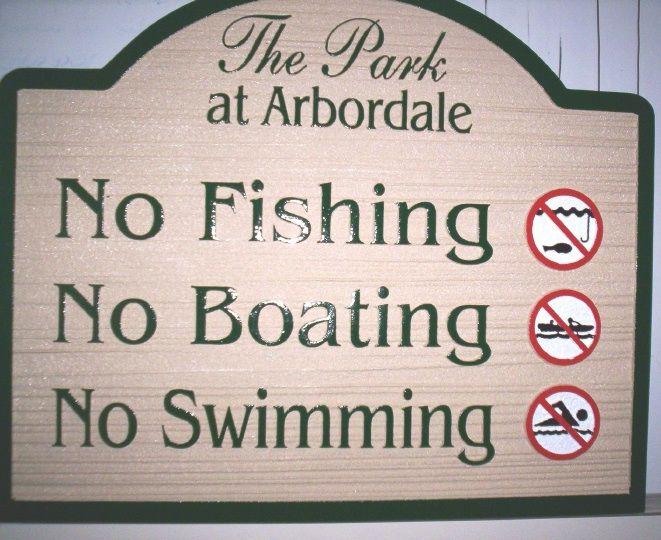 """KA20760 - Wood Grain HDU Signs """"No Fishing,"""" """"No Boating,"""" """"No Swimming,"""" with Picture Symbols"""