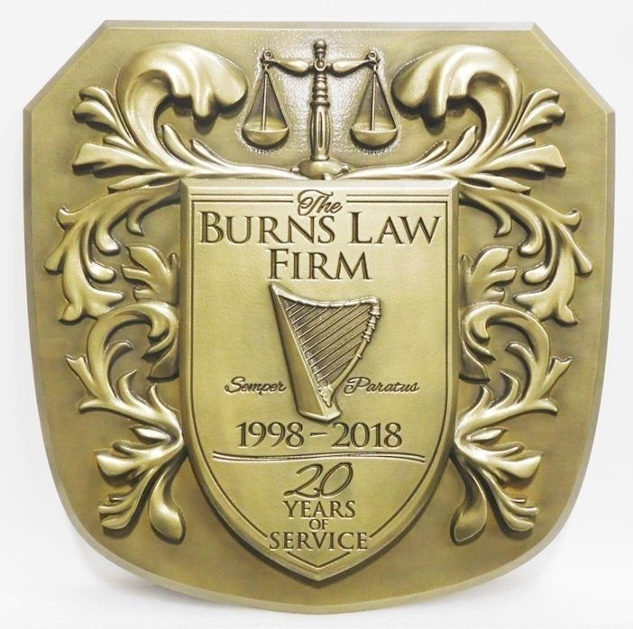 XP-1056 - Carved Plaque of Coat-of-Arms with Scales of Justice, Harp and Flourishes, for a Law Firm, 3-D Brass Plated