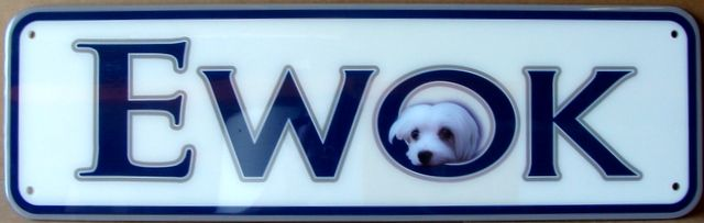"""SA28025 - Carved HDU sign for Pet Store """"Ewok"""", with a Dog's Face,"""
