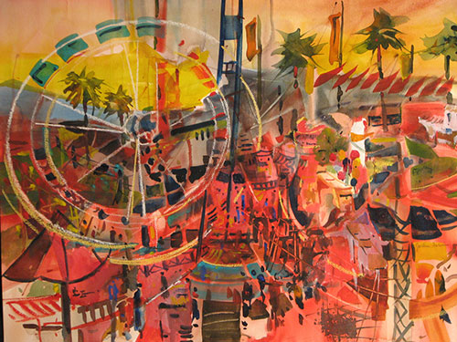 "Fun at the Fair,, watercolor, 22"" x 30"""
