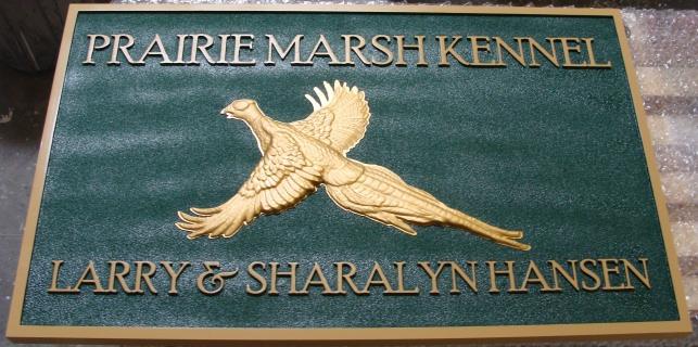 "SA28526 - Carved Sign for ""Prarie Marsk Kennel"" with  3-D Gold-Leaf Gilded Pheasant"