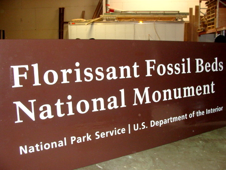G16009 - Carved Cedar Florrisant National Fossil Beds Monument National Monument Sign (side View)