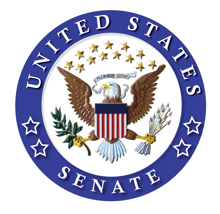 U30103 -  Carved 3-D Wooden Wall Plaque of Emblem (Unofficial Seal) for the US Senate