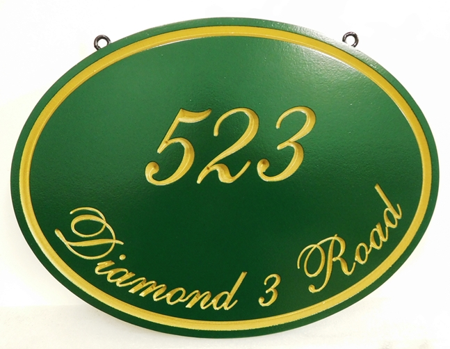 I18111- Carved, Oval Address Sign with Gold-Leaf Lettering and Borders