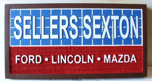 """S28041 -  Carved and Sandblasted  Sign for the """"Sellers Sexton""""  Ford, Lincoln, Mercury Dealership"""