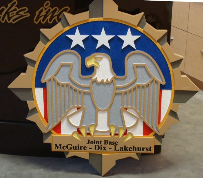 LP-1840 - Carved  Plaque of the Crest of the Joint Base McGuire-Dix-Lakehurst, Artist Painted