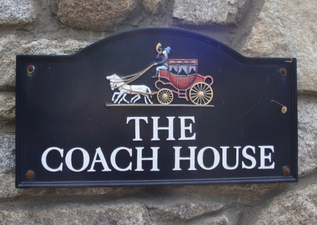"RB27660 -Carved Wood  ""The Coach House"" Tavern and Pub Sign with English Coach and Horses as Artwork"
