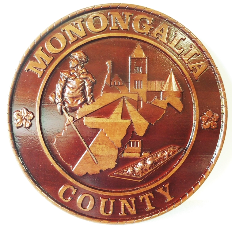 CP-1340- Carved Plaque of the Seal of Monongalia County, West Virginia, Mahogany Wood