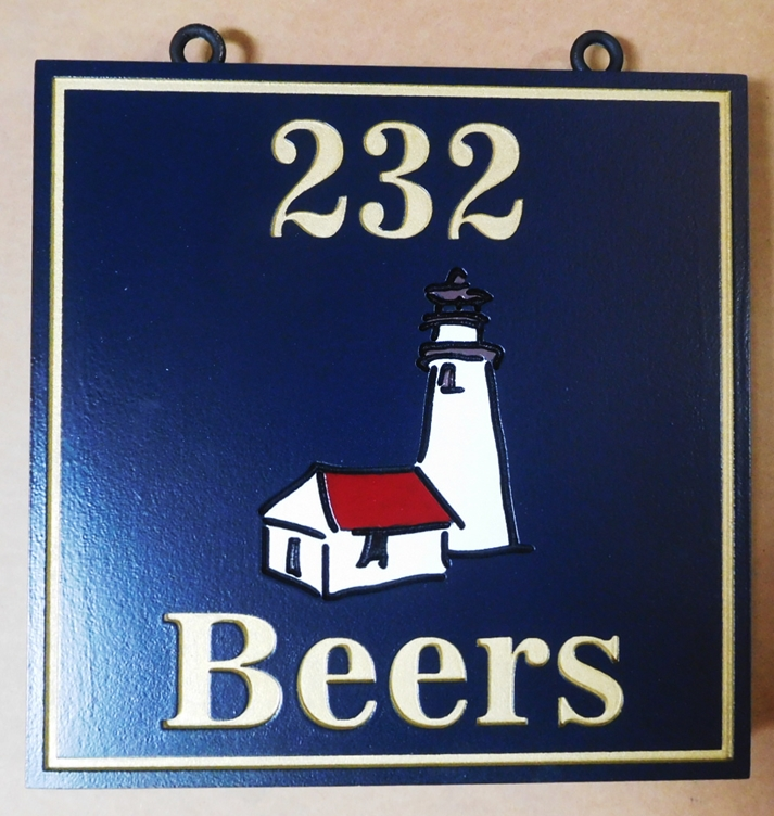 L21424 - Carved Beach House Sign with Lighthouse