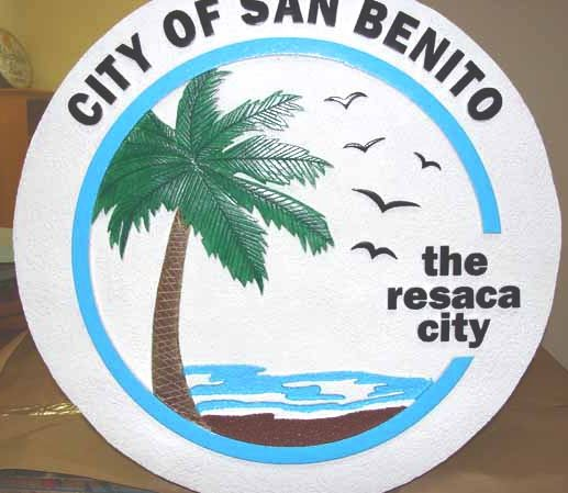 F15260 - City Entrance Sign with Palm Tree and Sea
