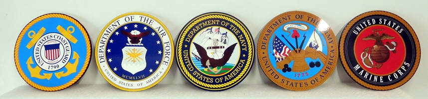 V31014 -  Set of  Five Full-Color Printed Acrylic Plaques of the Seals of the Five Armed Forces