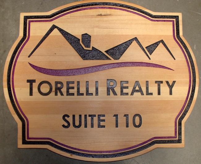 C12306 - Natural Cedar Wood Real Estate Company Sign