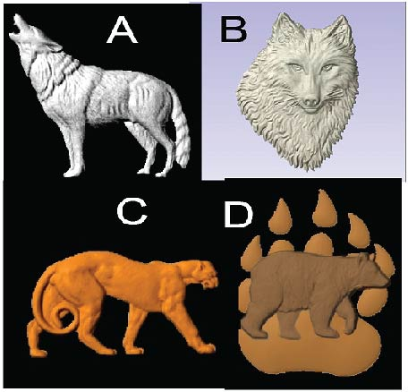 M22985 - Carved 3D Wood Appliques of Wolves, Cougar, and Bear Paw