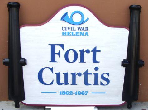 V31895 - Carved 3-D HDU Historical Fort Curtis (Civil War) Sign