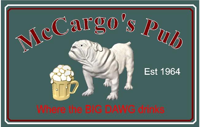 RB27565 - Carved English Pub Sign with Bulldog and Beer Mug