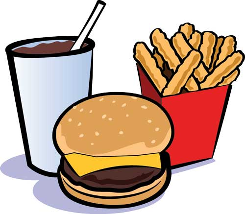 Cheeseburger and fries and drink produce a burger fries