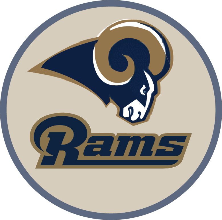 WP-1140 - Carved Wall Plaque of Logo for Rams, NFL,  Artist Painted