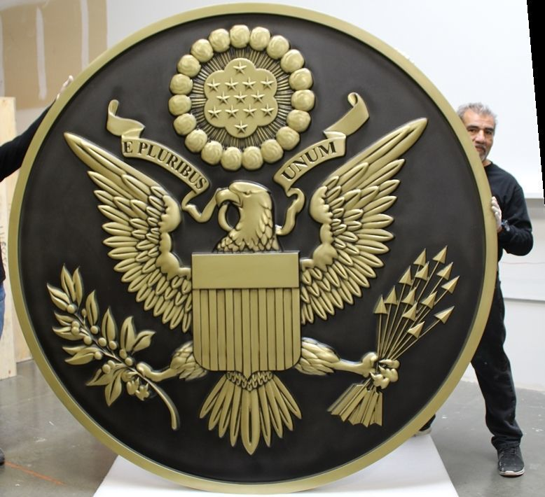 U30015 - Large 8 ft Carved 3-D HDU Plaque of the Great Seal of the United States of America