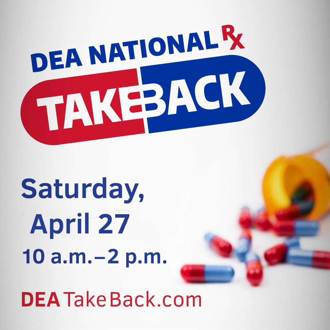 Drug Take Back Day is April 27th, 10 am to 2 pm.  Bring your unused Rx, veterinary and OTC medications to Niskayuna Town Hall and we will do the rest!