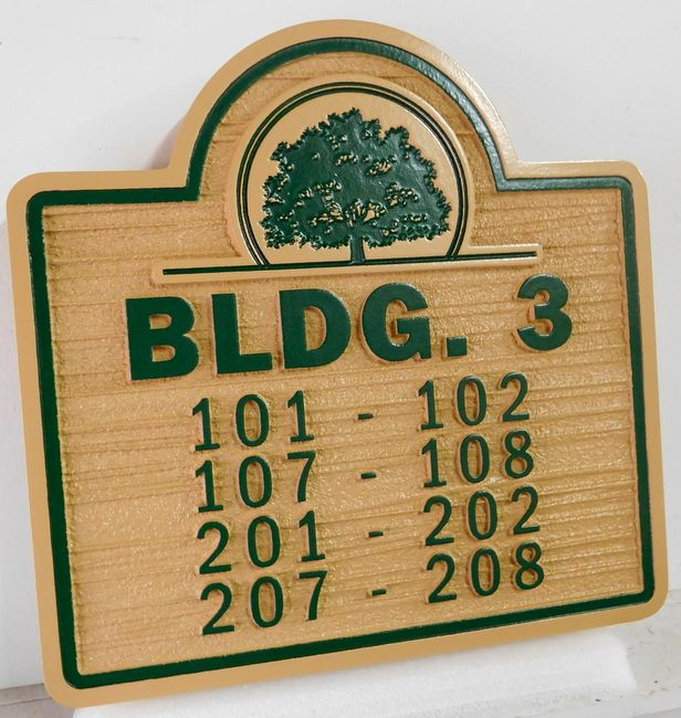 KA20842- Custom Unit Number Building Sign for an Apartment Complex, with Tree as Logo