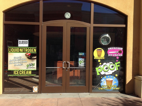 Window graphics for mall stores in Buena Park, Orange and Brea CA