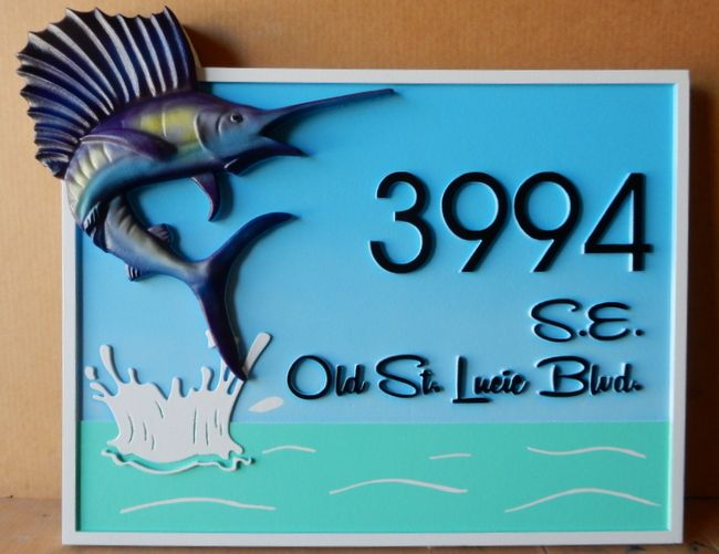 M2104 - Carved Address Sign for Coastal Residence, with Sailfish (Gallery 20)