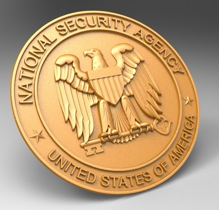 U30396 - Carved 3D Metallic-Gold Painted  Wall Plaque of the National Security Agency Seal