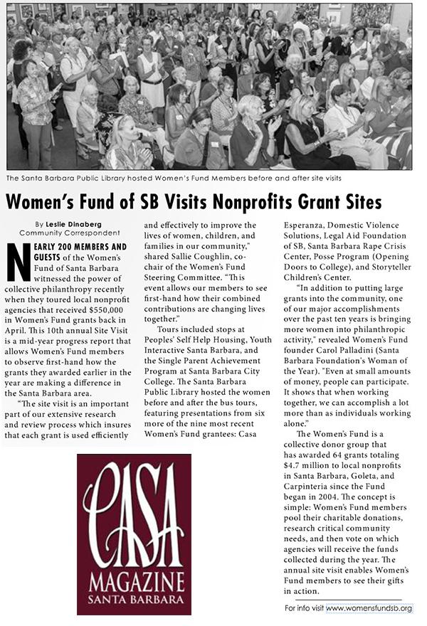 Women's Fund of SB Visits Nonprofits Grant Sites - CASA Magazine