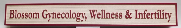B11085 - Carved in a Wood Grain Pattern, HDU Sign for Gynecology, Wellness and Infertility Medical Clinic.