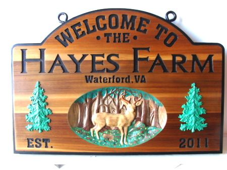 O24557 - Cedar Wood Farm Sign with Engraved Text and 3D Carvings of a Deer and Trees