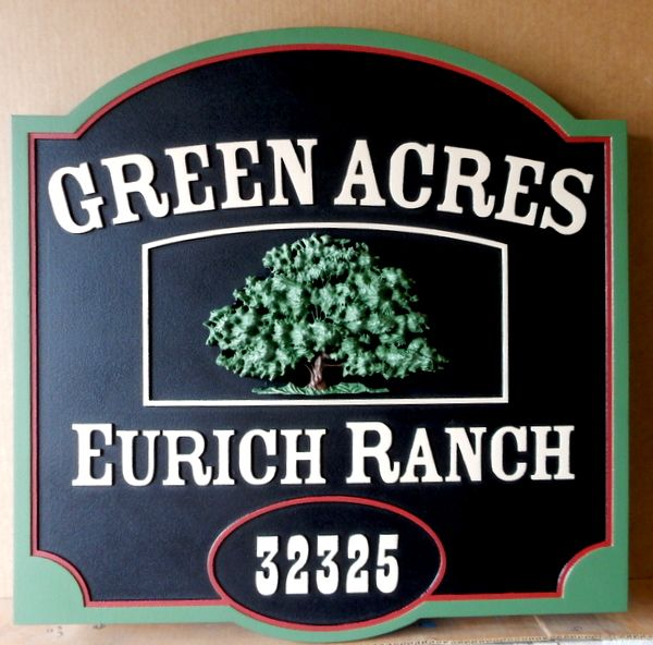 O24878 - Sign for Green Acres Ranch with Large, Carved 3-D Oak Tree