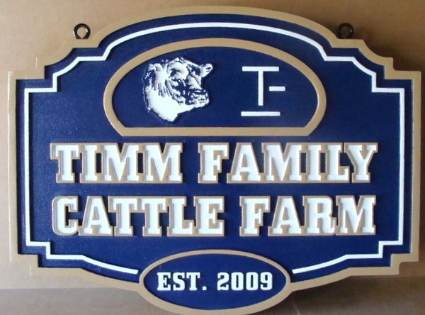 O24111 - Carved HDU Entrance Sign for the Timm Family Cattle Farm, with Steer Face