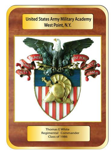 MP-3500 - Carved Regimental Commander Plaque with  Seal/Insignia  of West Point, US Army Military Academy,  Personalized, Mahogany Wood with Brass Plates