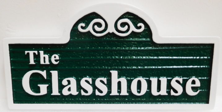 """I18848 - Carved and Sandblasted Wood Grain HDU Property Name Sign """"The Glass House"""", 2.5-D Artist-Painted"""