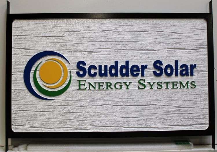 S28212 - Carved 3-D HDU Sign for Scudder Solar Energy Systems, with Carved 3-D Background to Simulate Sandblasted Wood
