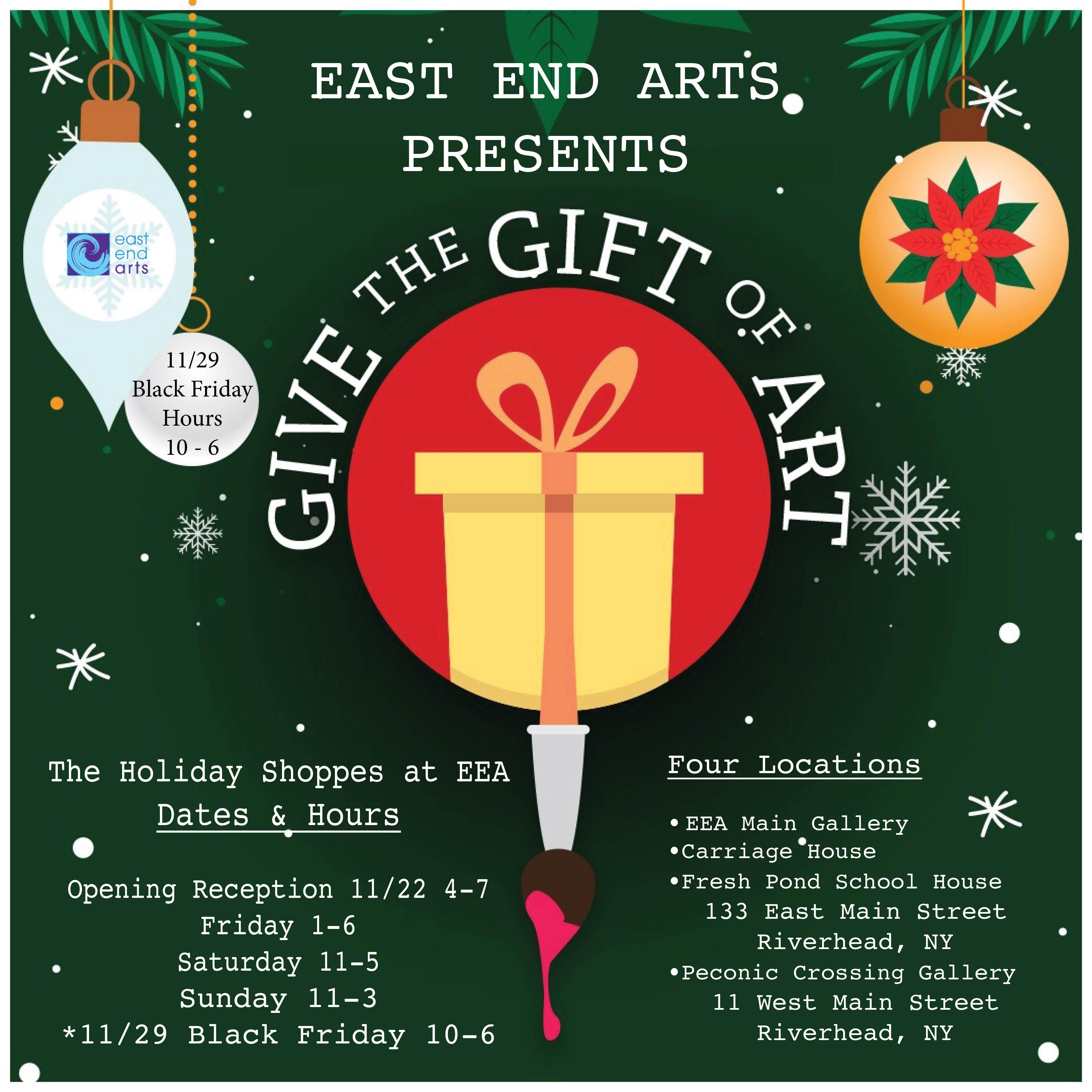 Give the Gift of Art in the Holiday Shoppes at East End Arts