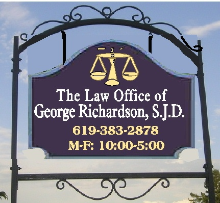 A10169 - Law Office Sign Mounted from Wrought Iron Hanger