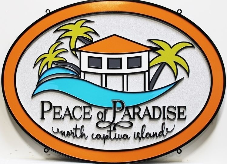 """L21923 - Carved 2.5-D OutlineRelief HDU Property NameSign """"Peace of Paradise"""", with  a Stylized Cottage with Palm Trees on the Ocean"""