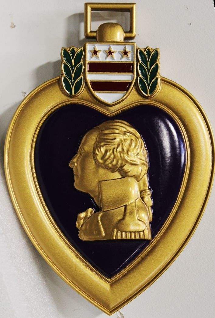MP-3235 - Carved 3-D HDU Plaque of the Purple Heart Medal