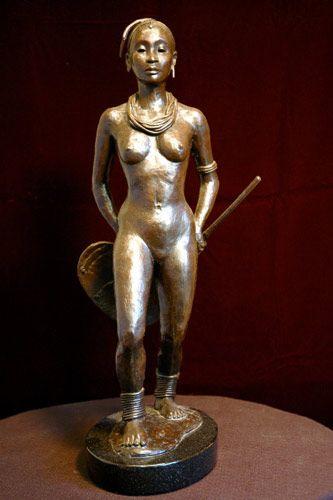 "Maasai, Bronze, 19"" x 6"" x 8"""
