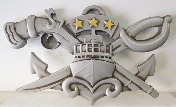 JP-1945 -  Carved Plaque of the Insignia, Special Surface Combatant Craft Warfare,  Painted Metallic Silver